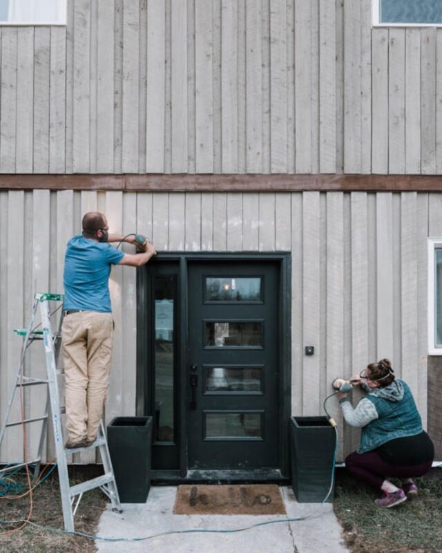 It has begun!!!! 🙌 We're giving the exterior of our home a HUGE makeover this summer. I'm talking painted siding, painted trim, new back doors, new front porch (ish) situation ... It's gonna be a big transformation! And we started by spending 8 hours this week sanding all the wood siding with our @wagnerspraytech PaintEATER (which is on sale on Amazon this month if you need to sand too!!). I'm looooving all your paint suggestions, and I honestly still haven't decided 🙈🙈 Tell me it'll all be ok?! 😂 And wish us luck!! Full summer of exterior posts coming at ya!   #Wagnerpartner #renovations #exteriorpainting #cljsquad #barn #home #exteriormakeover #apartmenttherapy